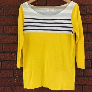 Madewell Yellow Striped Cotton Shirt Small